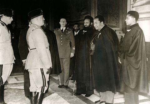 Haile Selasse Gugsa with Mussolini, 1937, Rome