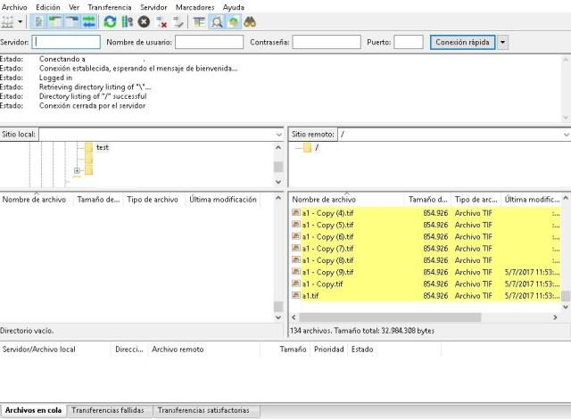 Captura de pantalla cliente Filezilla