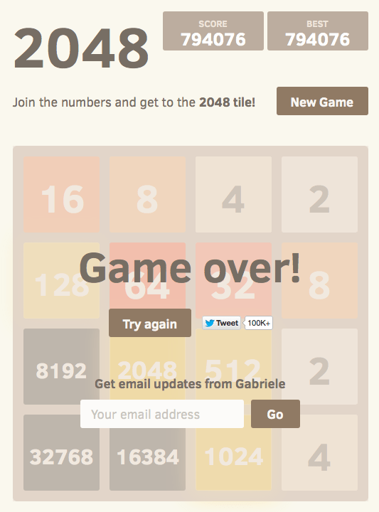 optimal algorithm for the game 2048