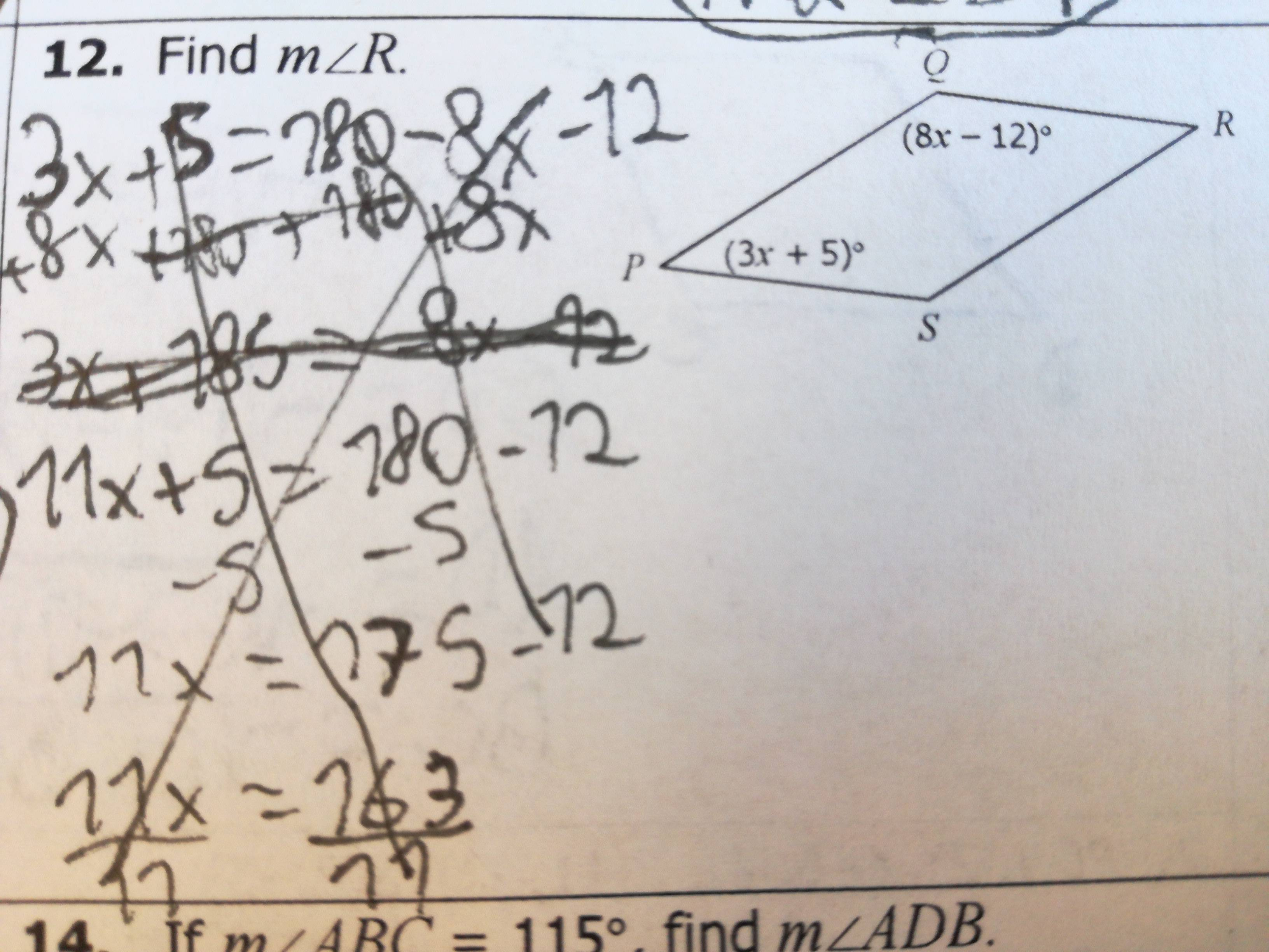 Solving Angles In A Parallelogram Geometry