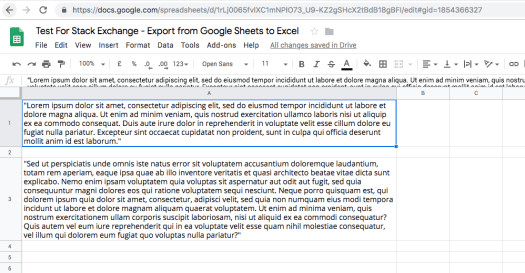 screenshot from google sheets showing wrapped text