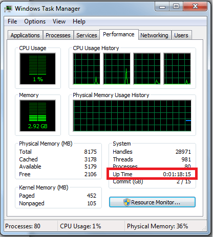 """""""Up Time"""" field in Task Manager"""
