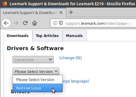 Lexmark E210 drivers selection