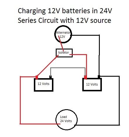 charging 24v battery with 12v alternator and isolator