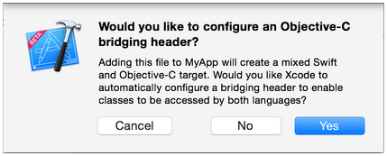 """A macOS sheet-style dialog from Xcode asking if you would """"like to configure an Objective-C bridging header"""""""