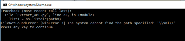 python - FileNotFoundError: [WinError 3] The system cannot ...