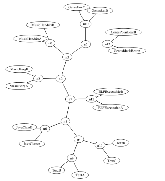 """Hierarchical Clustering visualization from """"Normalized Information Distance"""""""