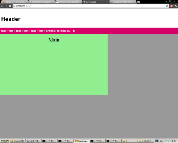 ruby on rails - javascript, When right div is hidden left ...