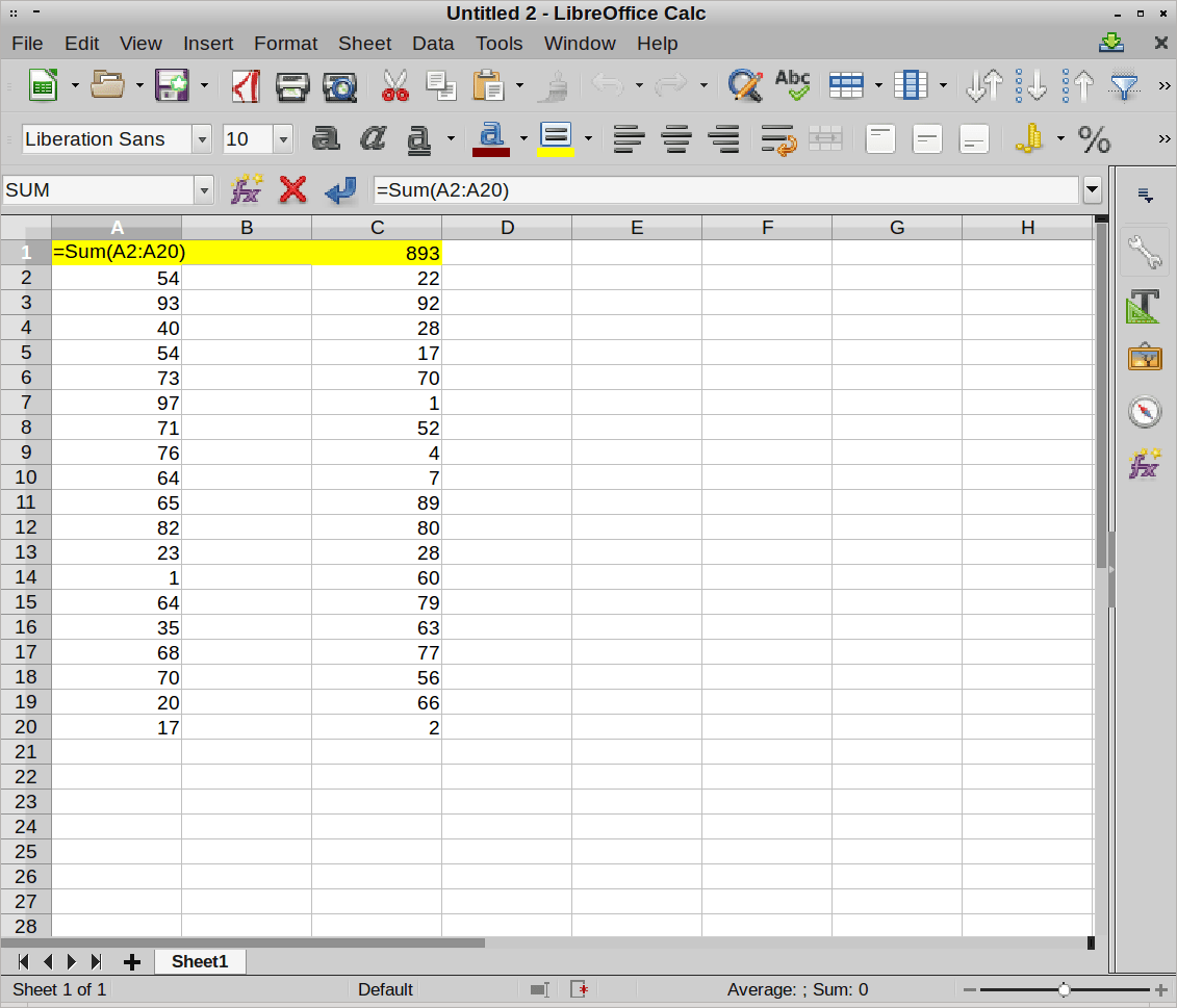 Excel Using Autosum Function Downward