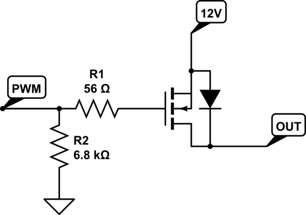 PWM-stimulated N-channel MOSFET