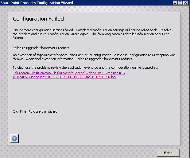 Resultado de imagem para Failed to Register SharePoint Services in PSConfig sharepoint 2016