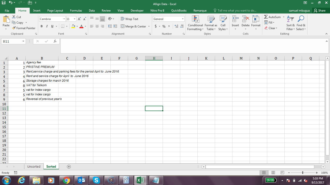 Aligning Data In Two Columns In Excel Vba