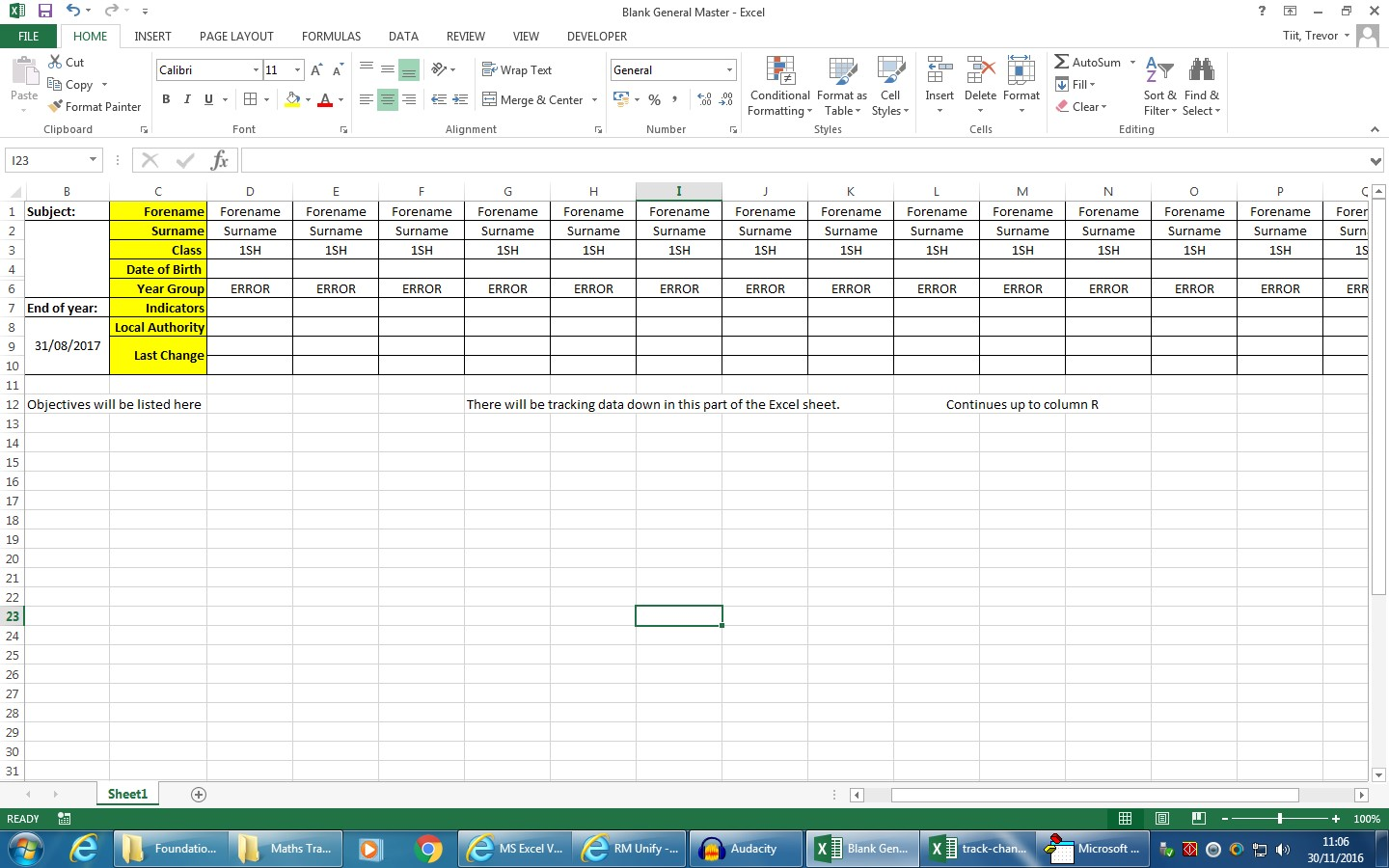 Excel Vba Timestamp In Predefined Row When Data Is Changed In A Column