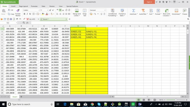Excel formula to calculate difference between a column values