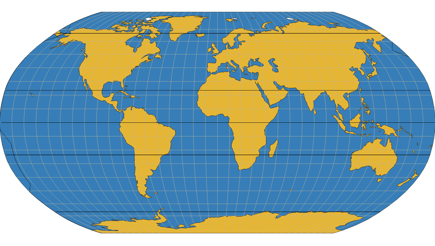 How Can I Properly Create A Robinson World Map With Grid