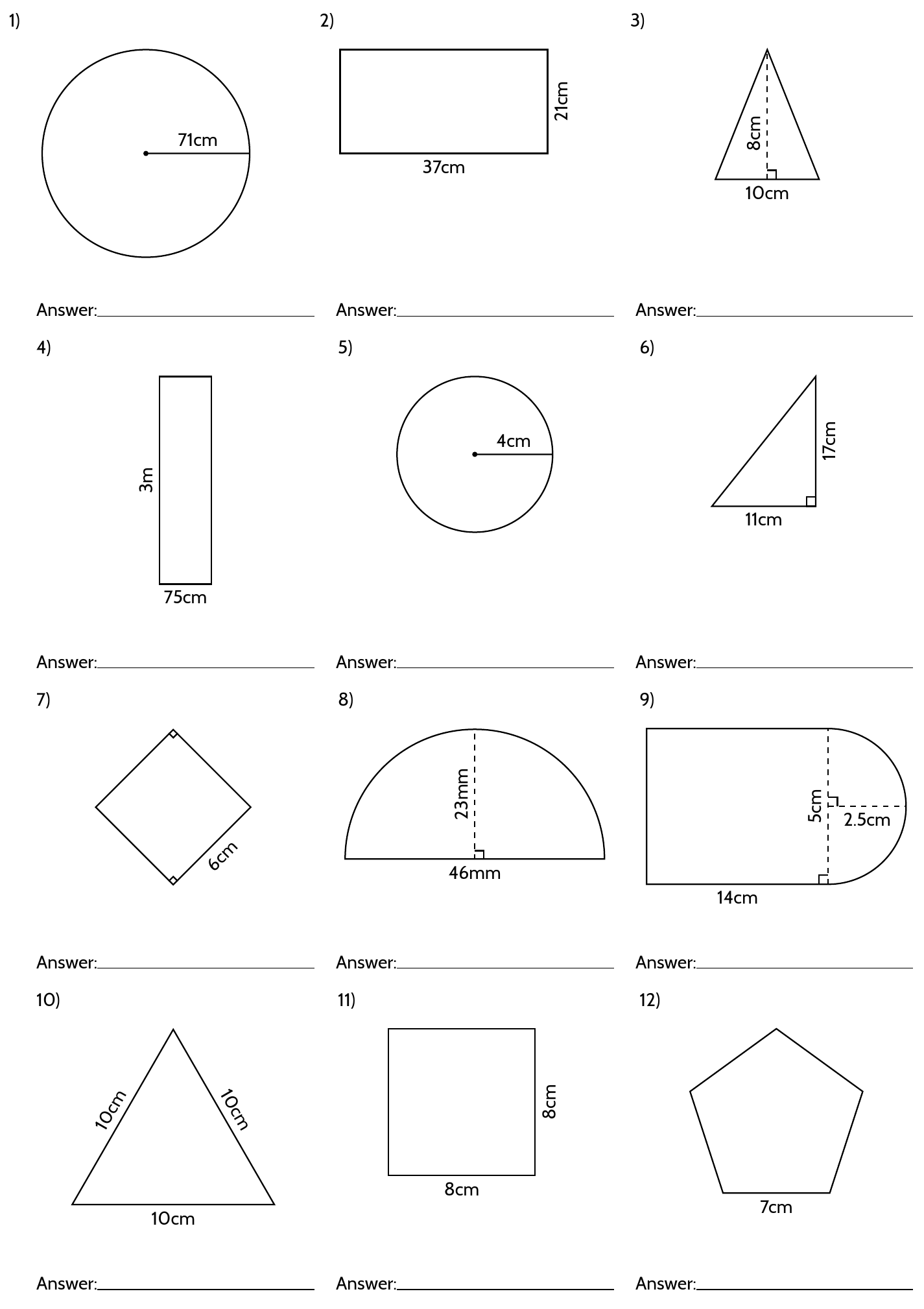 Math Geometry Worksheets 7th Grade