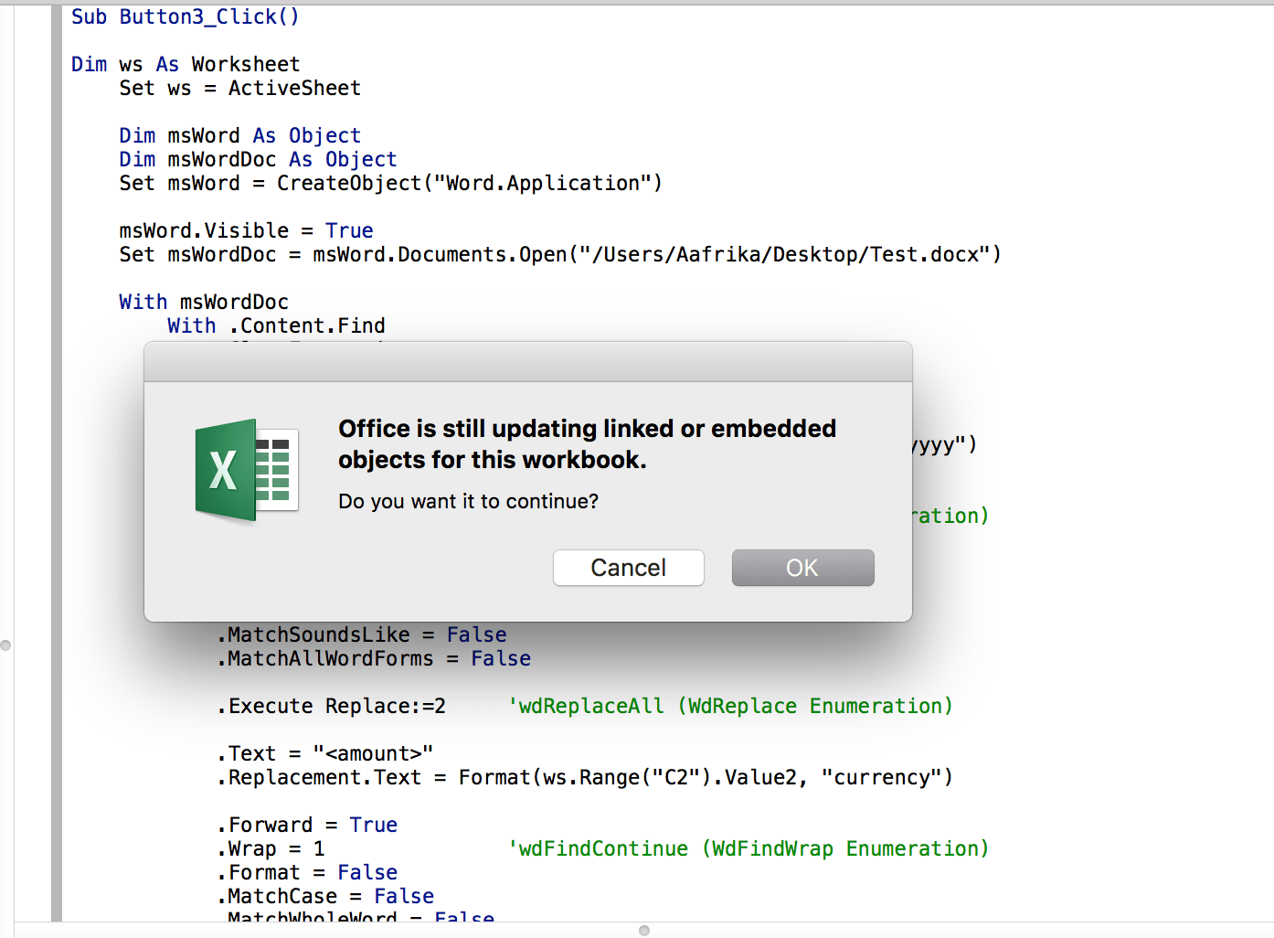 Stopping Linked Embedded Objects Excel Vba