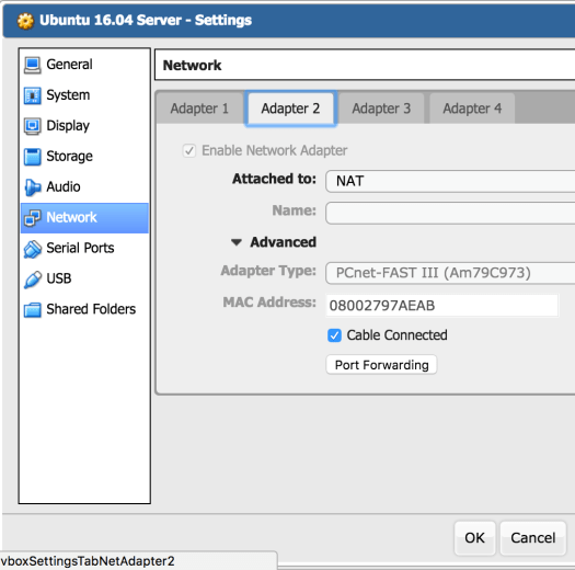 VirtualBox : server B settings : Adaptater 2