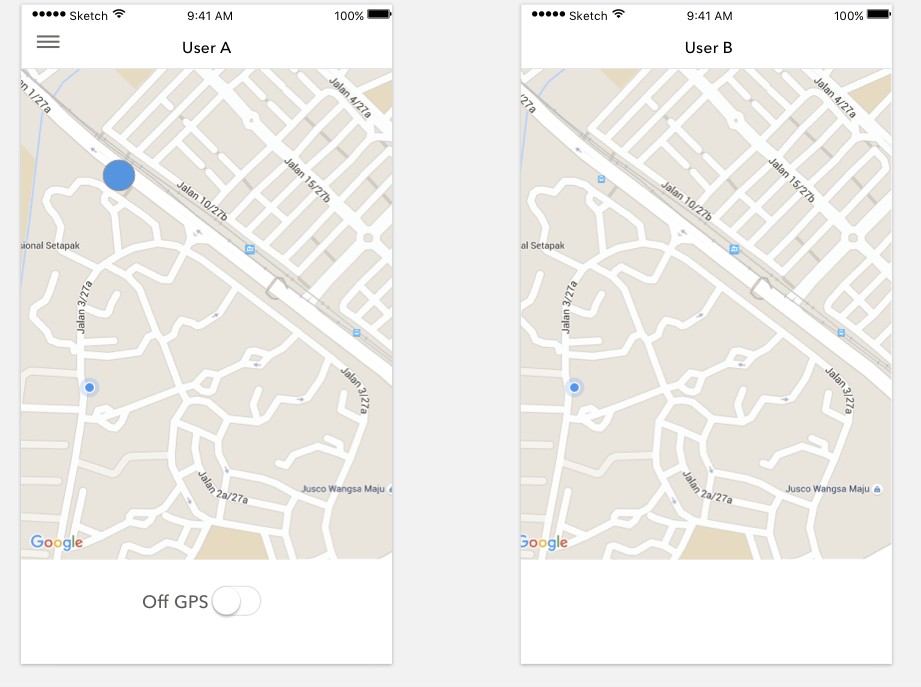 ios   Show user s location to another user on Google Maps   Stack     enter image description here