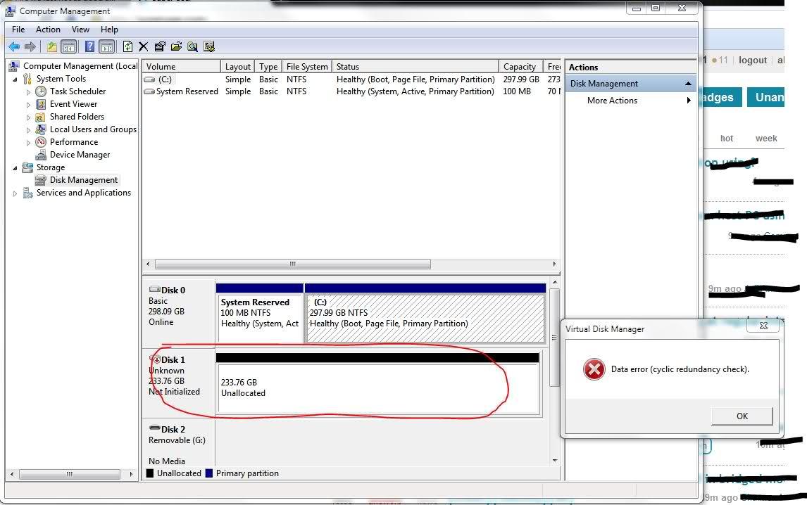 Windows 7 Data Error Cyclic Redundancy Check During