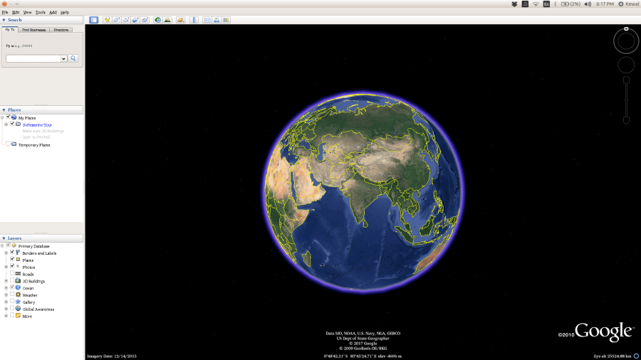 Google Earth doesn t show map   Ask Ubuntu How it should look now