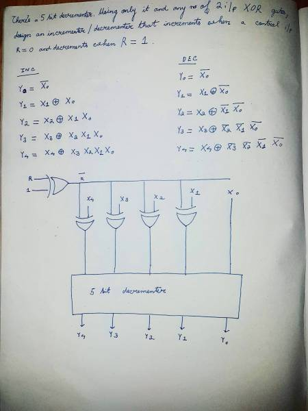 digital logic   I have a 5 bit decrementer  Using control i p R  use     digital logic   I have a 5 bit decrementer  Using control i p R  use the  decrementer and 2 i p XOR gates to obtain incrementer when R 0 and a  decrementer
