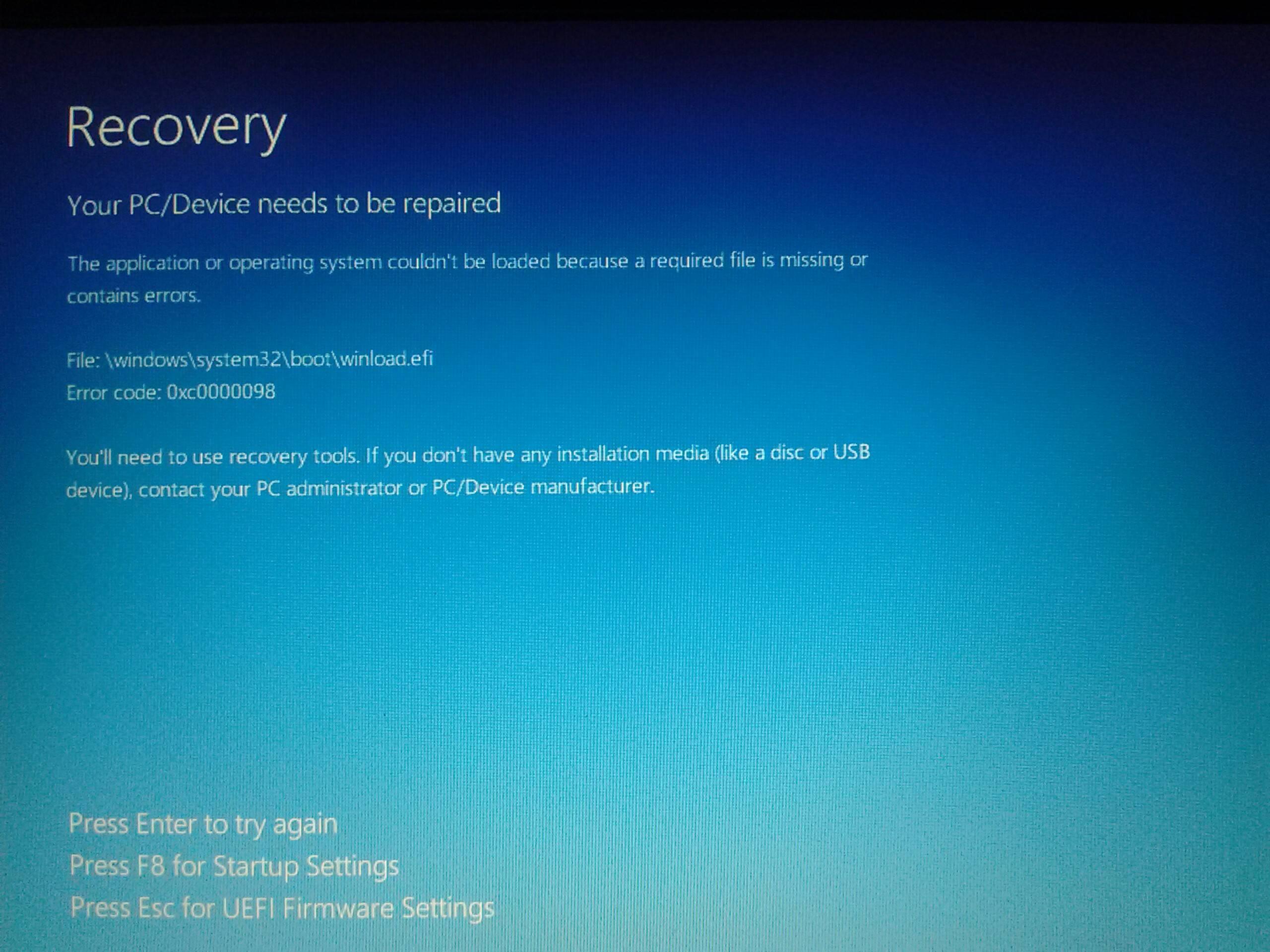 64 bit - Windows 10 installation winload.efi error - Super User