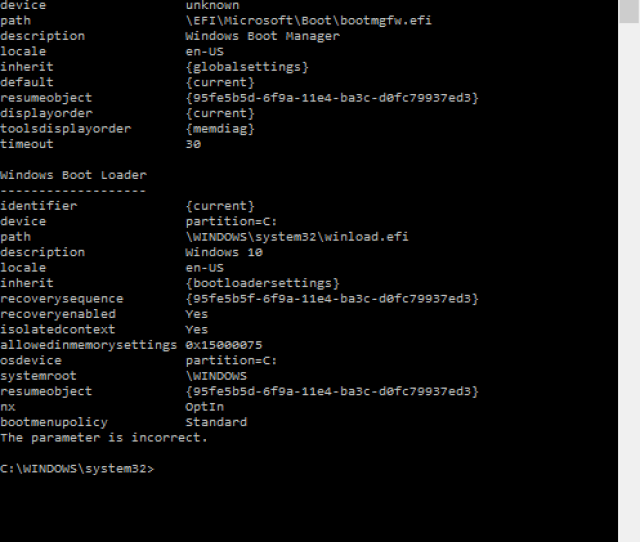 Please Note That Easyuefi And Visualbcd Are Both Screwing Up Here Is A Full Output Of My Current Bcd