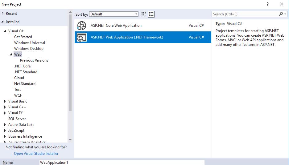 C Visual Studio Community 2017 Asp Net Web