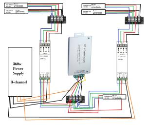 led strip  Multiple LED's, one controller, diagram