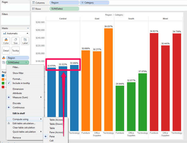 Side by Side Stacked Bar Chart totaling to 100% in Tableau ...