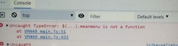 javascript - TypeError $(...).meanmenu not a function in ...