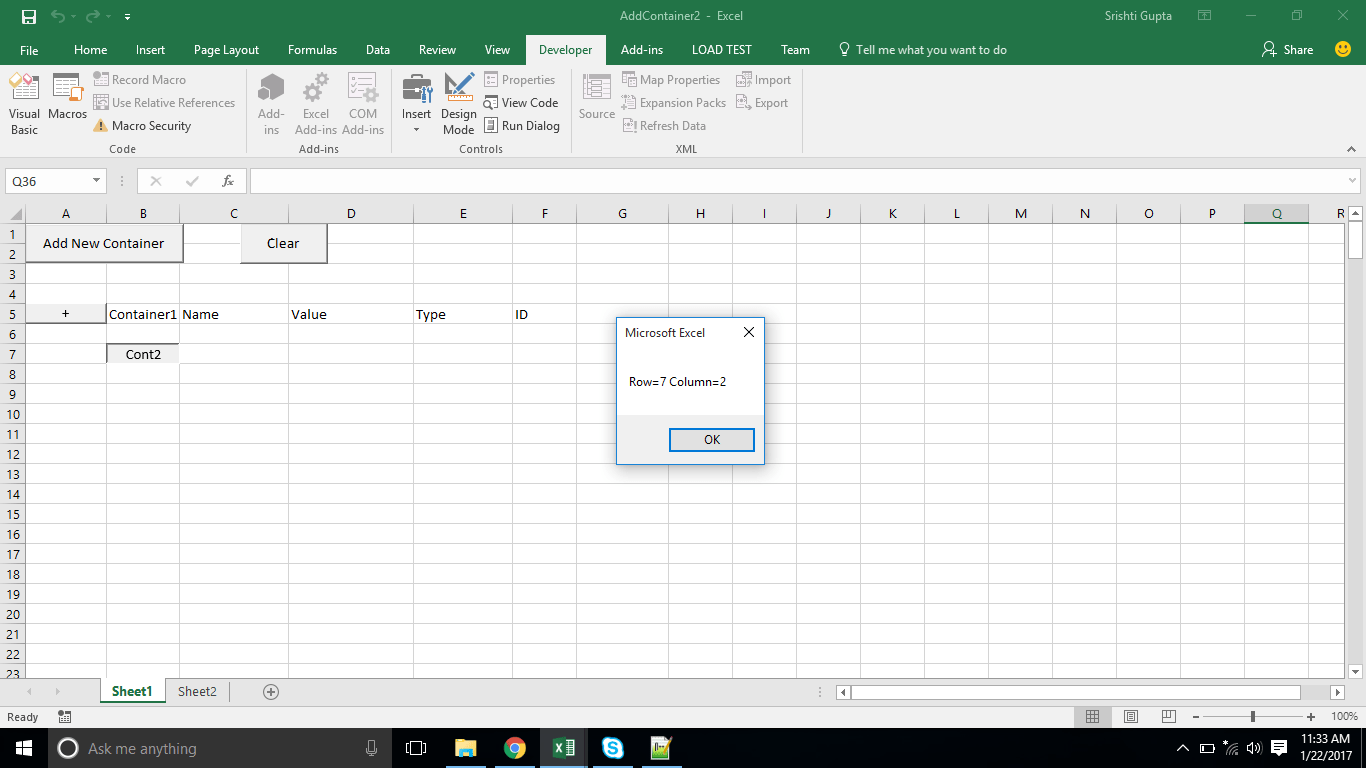 Excel Vba Getting Position Of A Dynamically Added Button