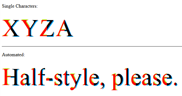 Half Style on text - advanced - With Text Shadow