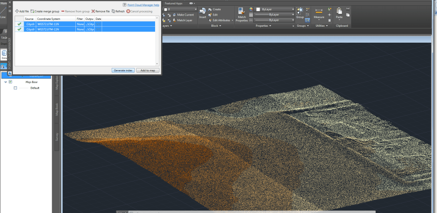 import   Adding LAS files into AutoCAD map 3D with Point Cloud     enter image description here
