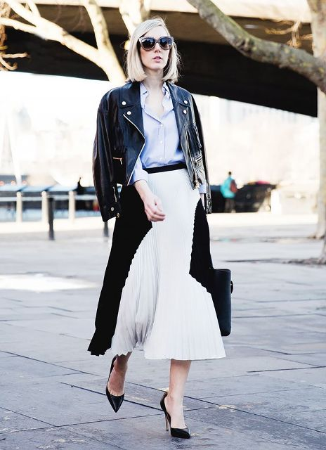 16 Feminine Pleated Midi Skirt Outfits For Fall And Winter