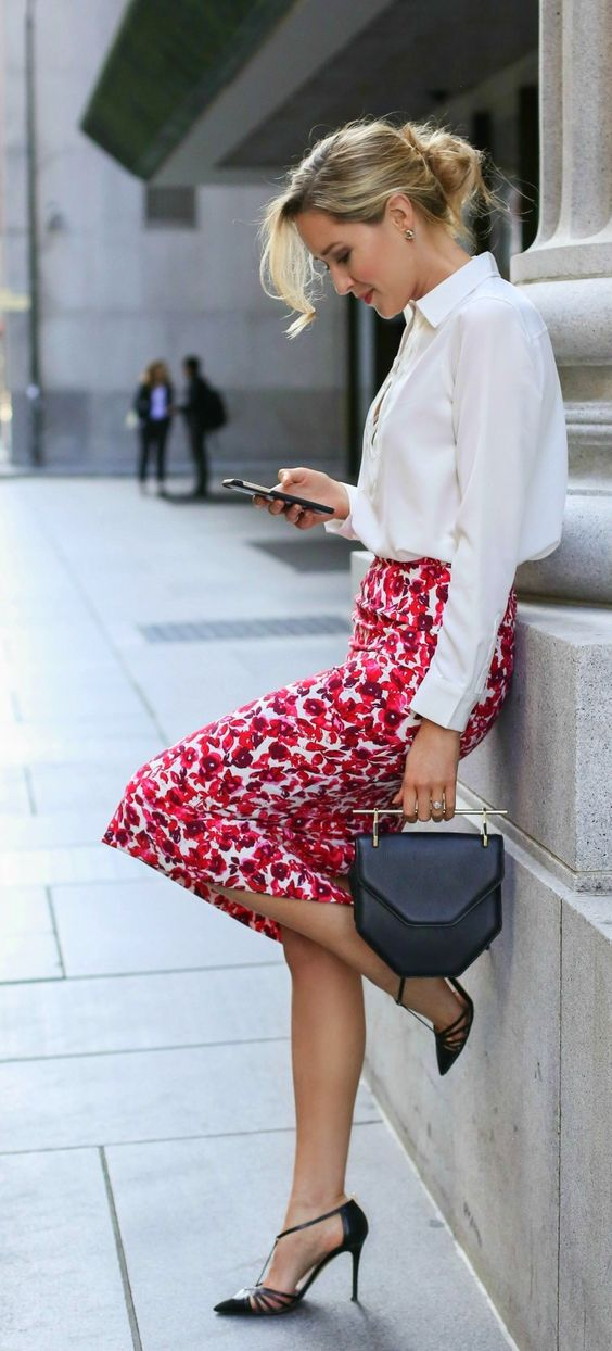 Picture Of A White Shirt A Bold Red Floral Pencil Skirt
