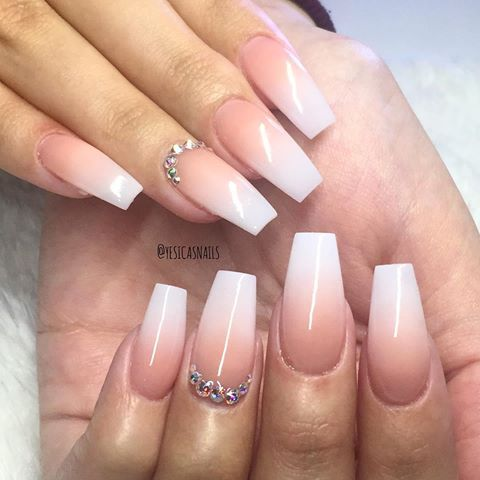 Ombre French Manicure With A Rhinestone Accent Nail
