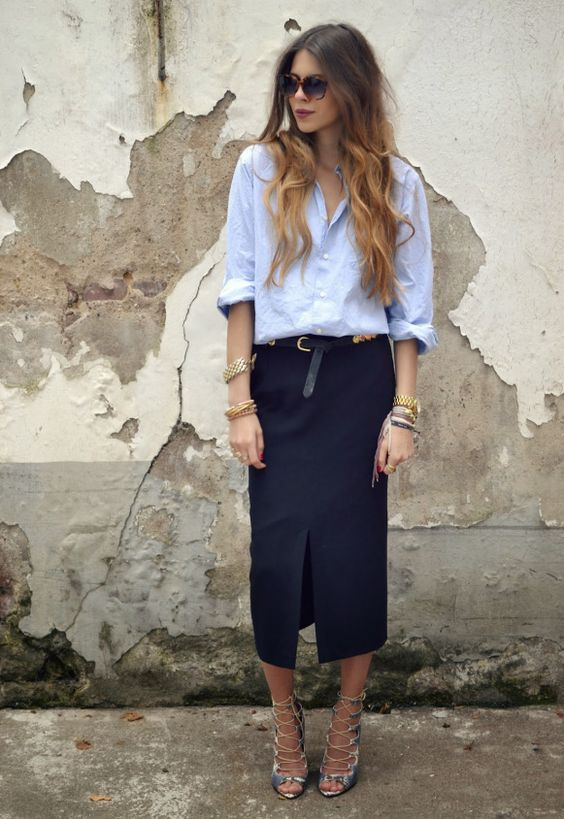 strappy blue heels, a navy pencil midi with a front slit, a blue shirt to wear to work