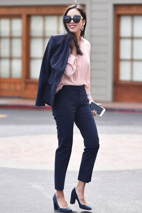 Picture Of A Navy Pantsuit With Cropped Pants A Pink