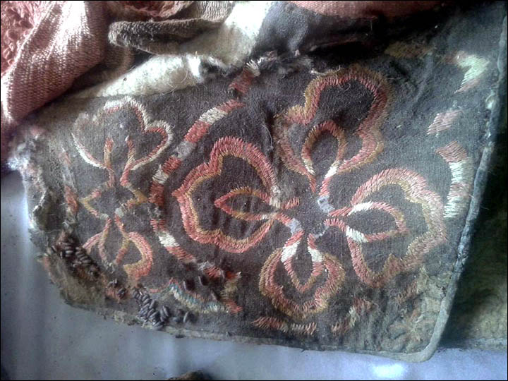 Intricate embroidered design on mummy's bag (Khovd Museum Photo)