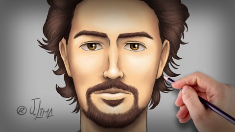 Desenho e Pintura a Mão Livre do Rosto Humano