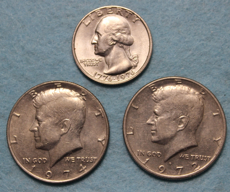 Two Kennedy Halves And Bi Centennial Quarter