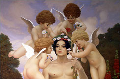 "Michael: This painting, which David Nordahl completed in 1999, is clearly visible behind the singer during his interviews with Martin Bashir at Neverland for the 2003 documentary Living With Michael Jackson. ""I loved the challenge of painting this size canvas,"" Nordahl says. The canvas is 136 inches tall by 80 inches wide."