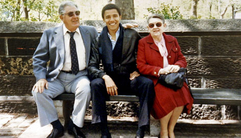 Democratic presidential hopeful Barack Obama, the senator from Illinois, center, with his grandparents, Stanley and Madelyn Dunham, on a park bench in New York City while he was a student at Columbia University. Obama made reference to his grandmother during his recent speech on U.S. race relations.