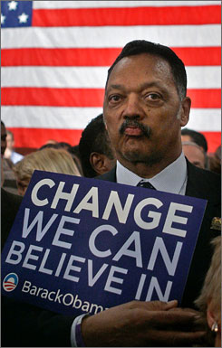 Democratic presidential contender Barack Obama, the senator from Chicago, has accepted the apology of the Rev. Jesse Jackson for crude comments he made about Obama when he thought a television station microphone was not on. Here, Jackson holds up an Obama campaign sign on Super Tuesday primary night at Obama's party on Feb. 5 in Chicago.