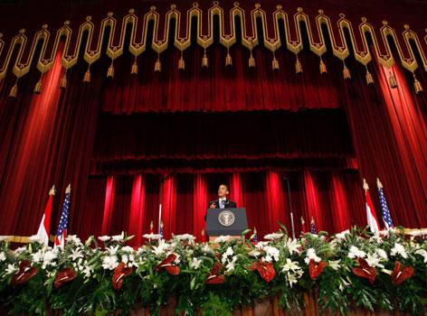 Herr Obama bei seiner Rede an der Universität von Kairo im Juni 2009