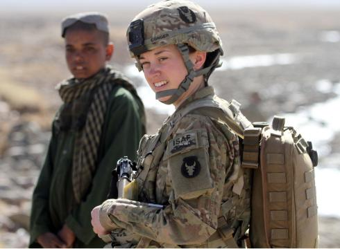 Female soldiers are particularly vital in this war. Most Afghan women will not talk to a male stranger. So if an American patrol wants to glean information