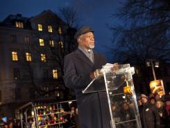 Former U.N. secretary-general Kofi Annan speaks during the International Holocaust Remembrance Day commemoration at Raul Wallenberg square in Stockholm, Sweden.