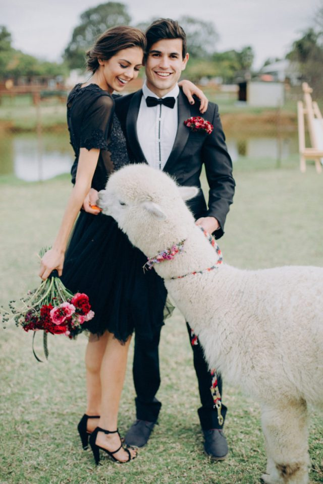 a couple wearing black, a hot red and pink wedding bouquet and a matching boutonniere